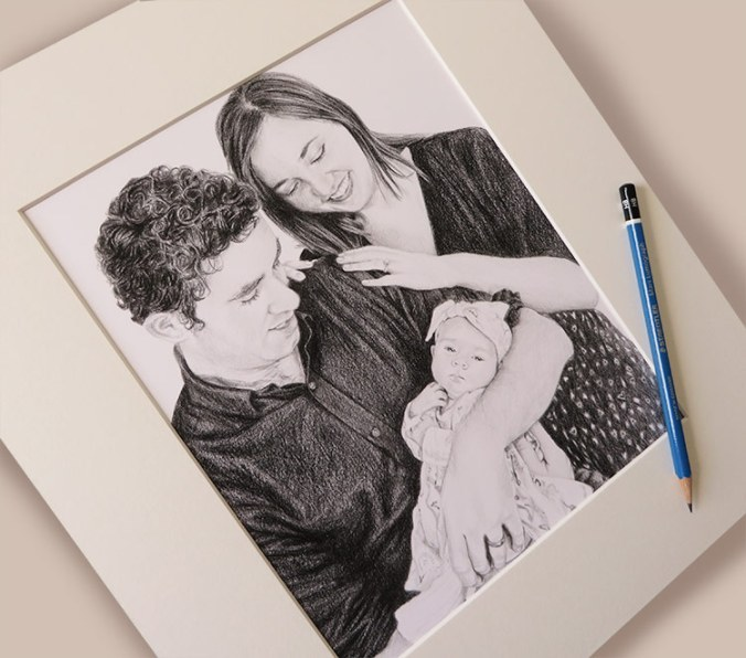 mounted family drawing
