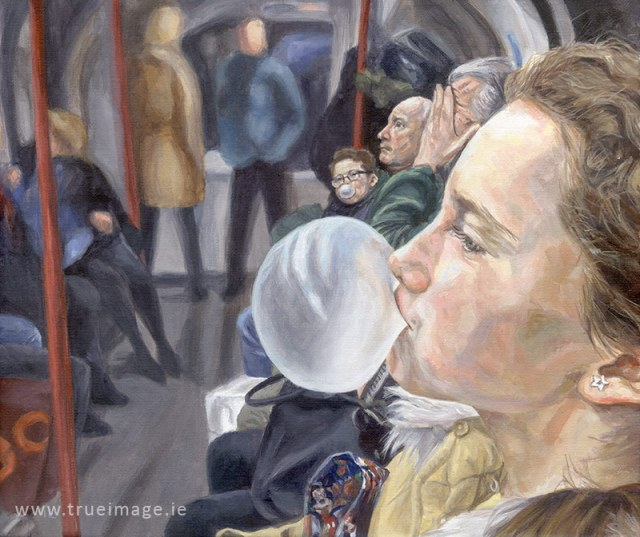 acrylic painting portrait of a girl and her family in the london underground, girl blowing a bubble