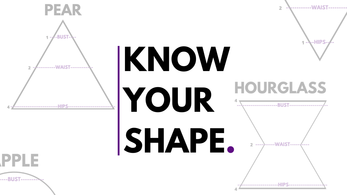 """Know your shape"" with body shape examples surrounding"
