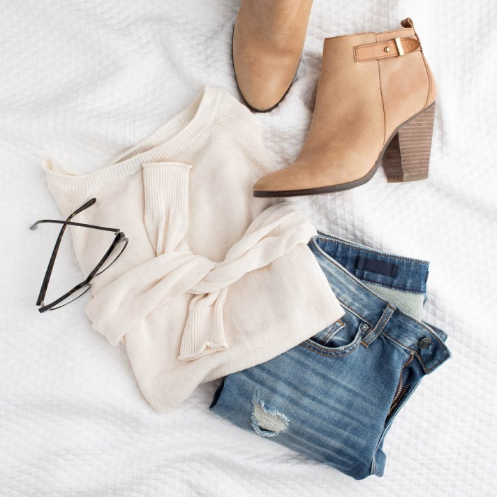Same white sweater and jeans outfit with booties instead of sneaks for casually dressed image consulting