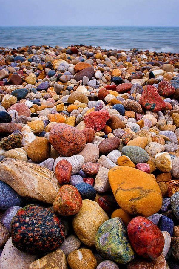 Colorful Shore of Lake Huron Beach, Canada