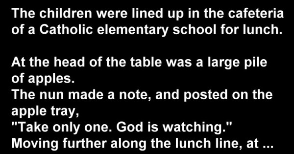 Cute Joke: The Children Were Lined Up In The Cafeteria