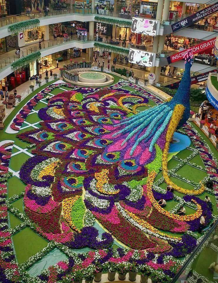 Floral arrangement in a mall in Medellin, Colombia  One word to describe this? :)