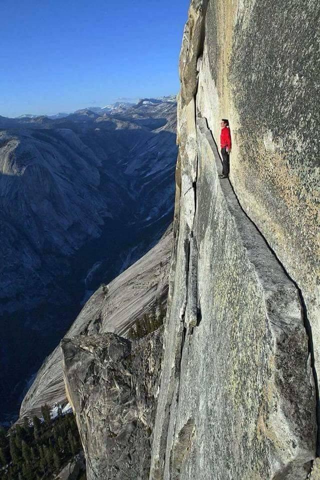 "The ""Thank God Ledge"" in Yosemite National Park. :o"