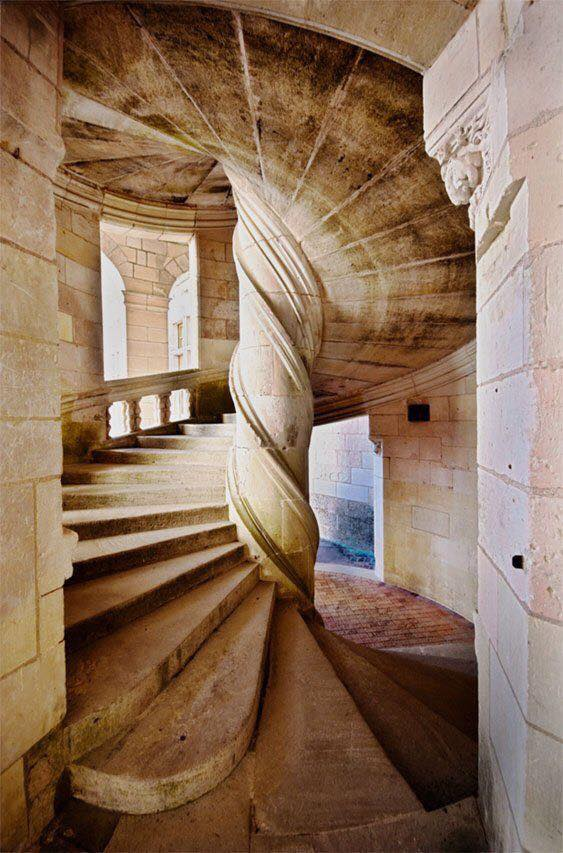 A staircase at Chateau de Chambord