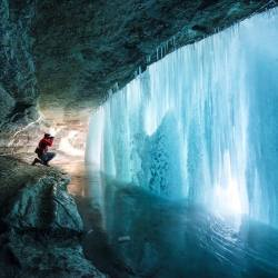 Behind the scene of a frozen waterfall