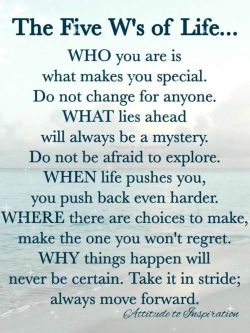 The Five W's of Life …
