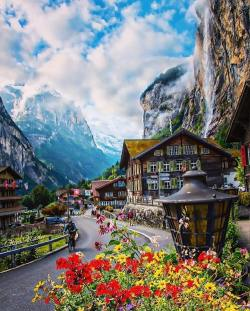 The Valley of 72 waterfalls  Lauterbrunnen, Switzerland.