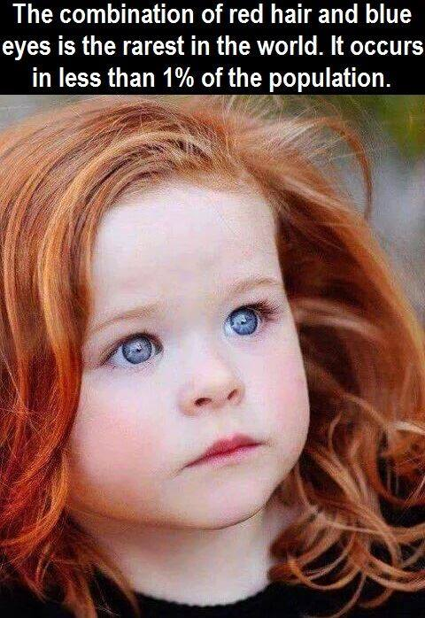 """""""The combination of red hair and blue eyes is the rarest in the world. It occurs in less t ..."""