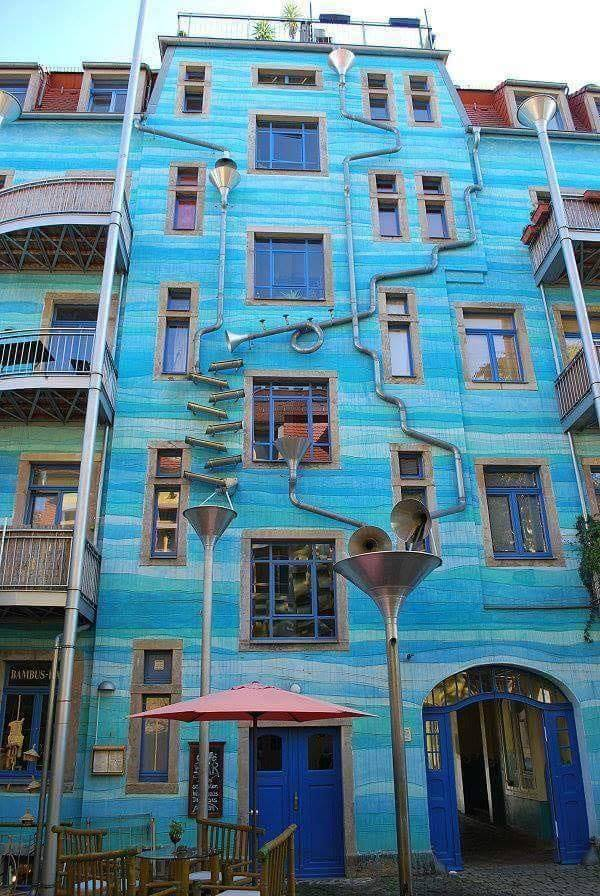 This beautiful building in Germany, in a city named Dresden, plays soft music trough the drain p ...
