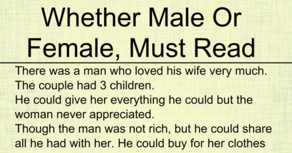 Whether Male Or Female, Must Read