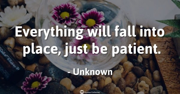 Everything will fall into place, just be patient. – Unknown