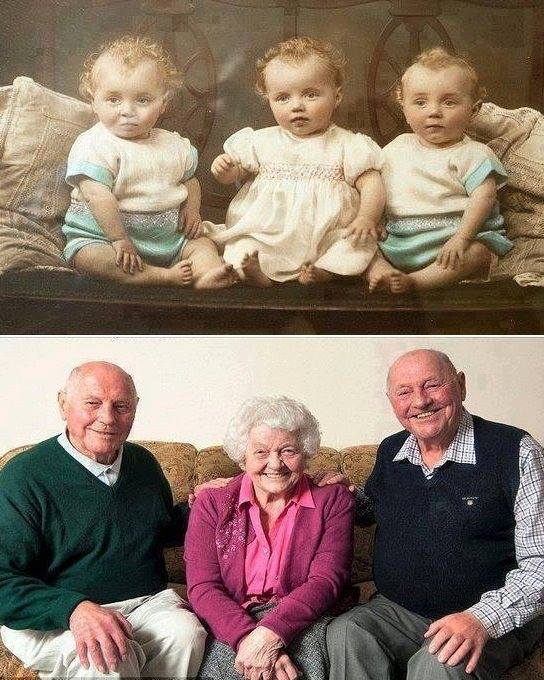 Octogenarian triplets who doctors feared would not survive celebrating their 80th birthdays toge ...