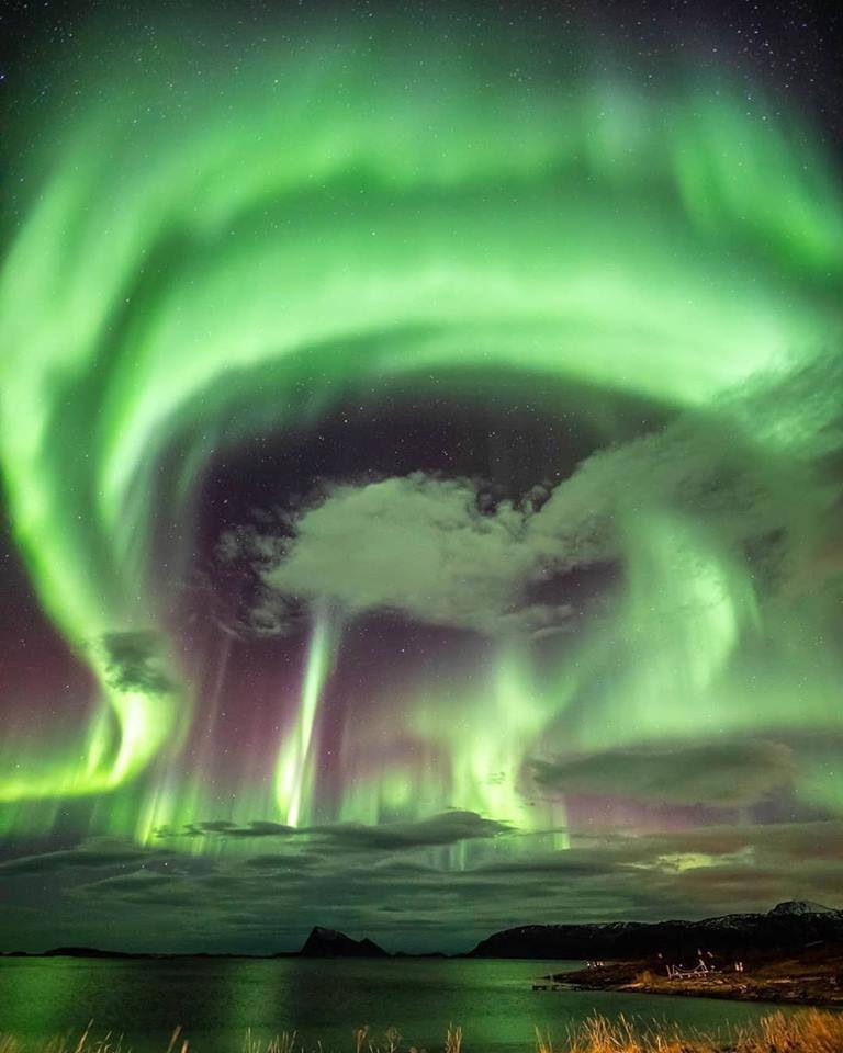 When a solar storm hits the Northern poles in Norway.