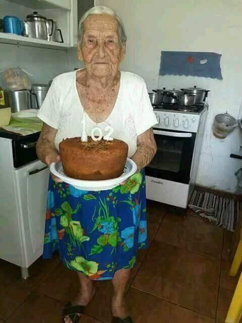 She baked her own cake  102 years young  Please let's all wish her a Happy Birthday! :)