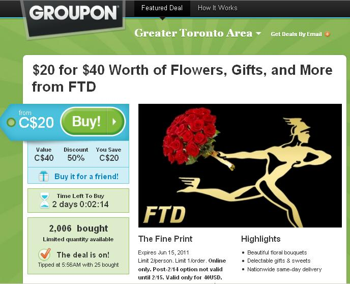 Valentines Day Scam On Groupon FTD Flowers Trueler