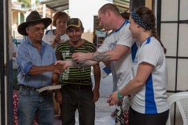 Skyler presenting keys to Margarito for their new home