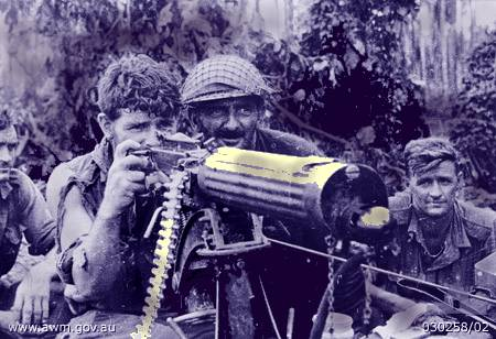 Simulation of  endocrinologists defending Synthroid and the TSH test. Courtesy of wikimedia commons. Actually Australian soldiers manning a Vickers machine gun at Sanananda in January 1943; Australian War Memorial