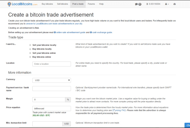 posting a trade on localbitcoins.com