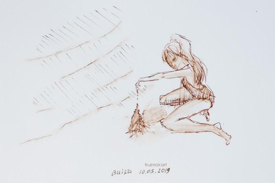 .014 Build - Sand Castle, pen on paper