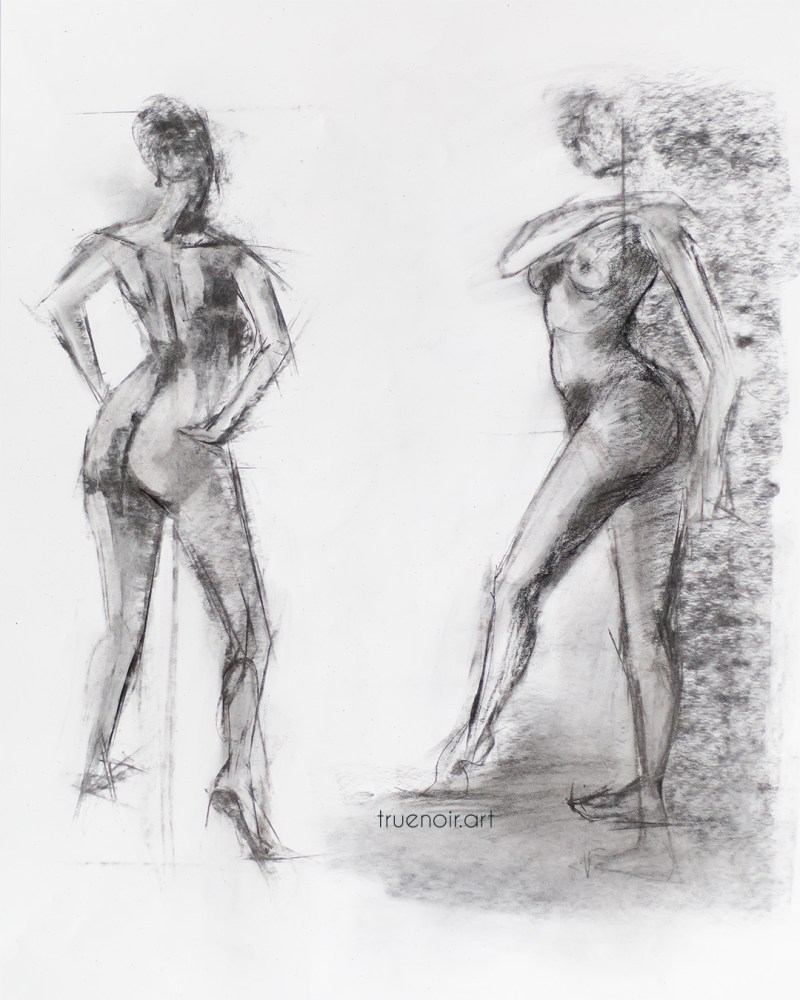 Two-figure charcoal sketch by Oksana Ossipov