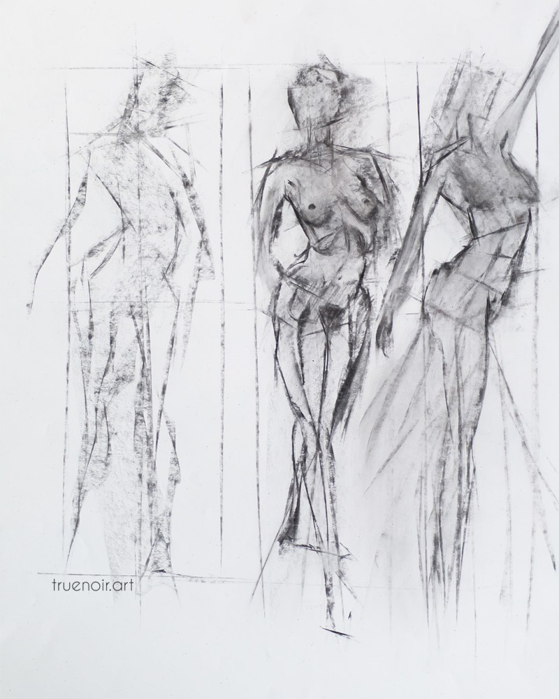 Tri-figure charcoal drawing