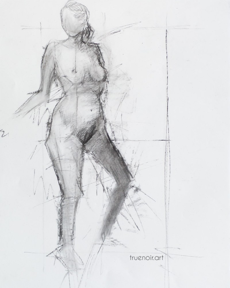 Half-seated pose charcoal drawing