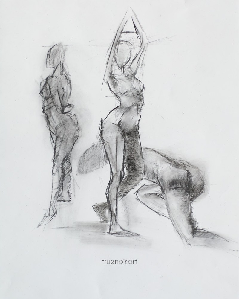 Multi-pose charcoal drawing