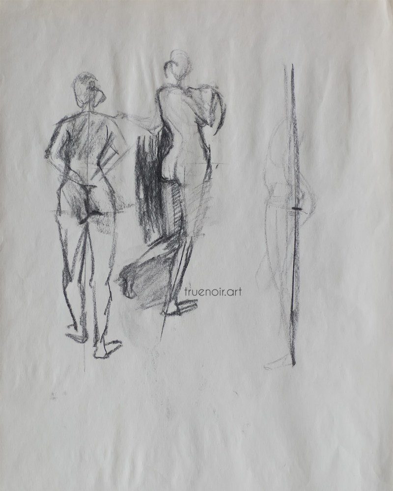 Quick gestures, charcoal drawing