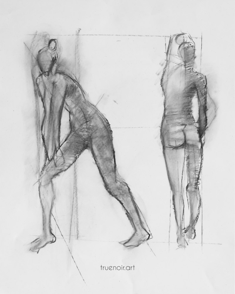 Two-pose male figure, charcoal drawing
