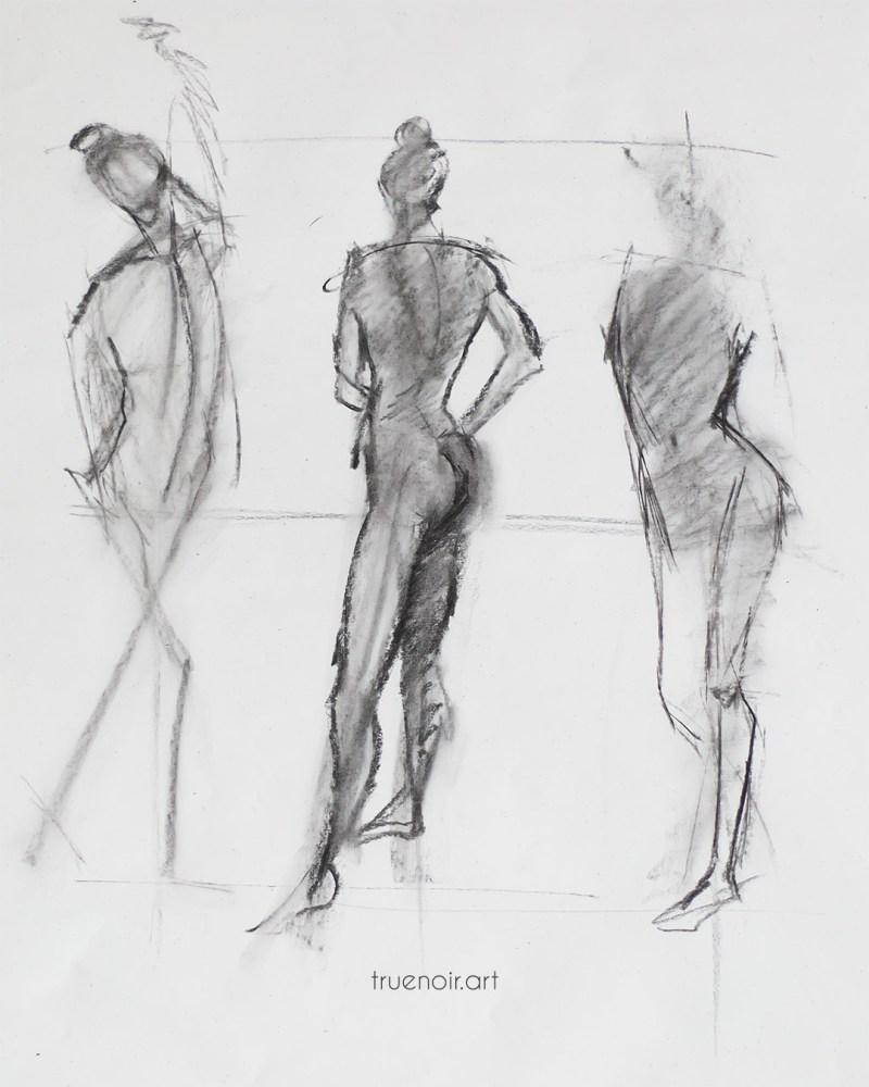 Short poses, charcoal drawing