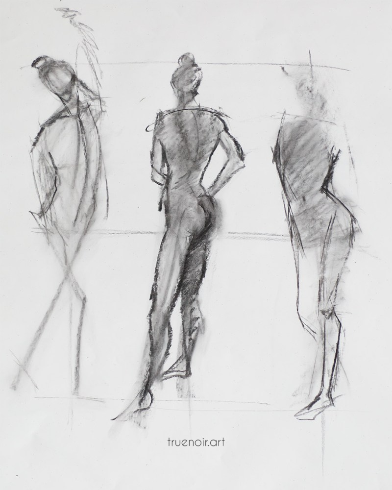 Short poses, charcoal drawing