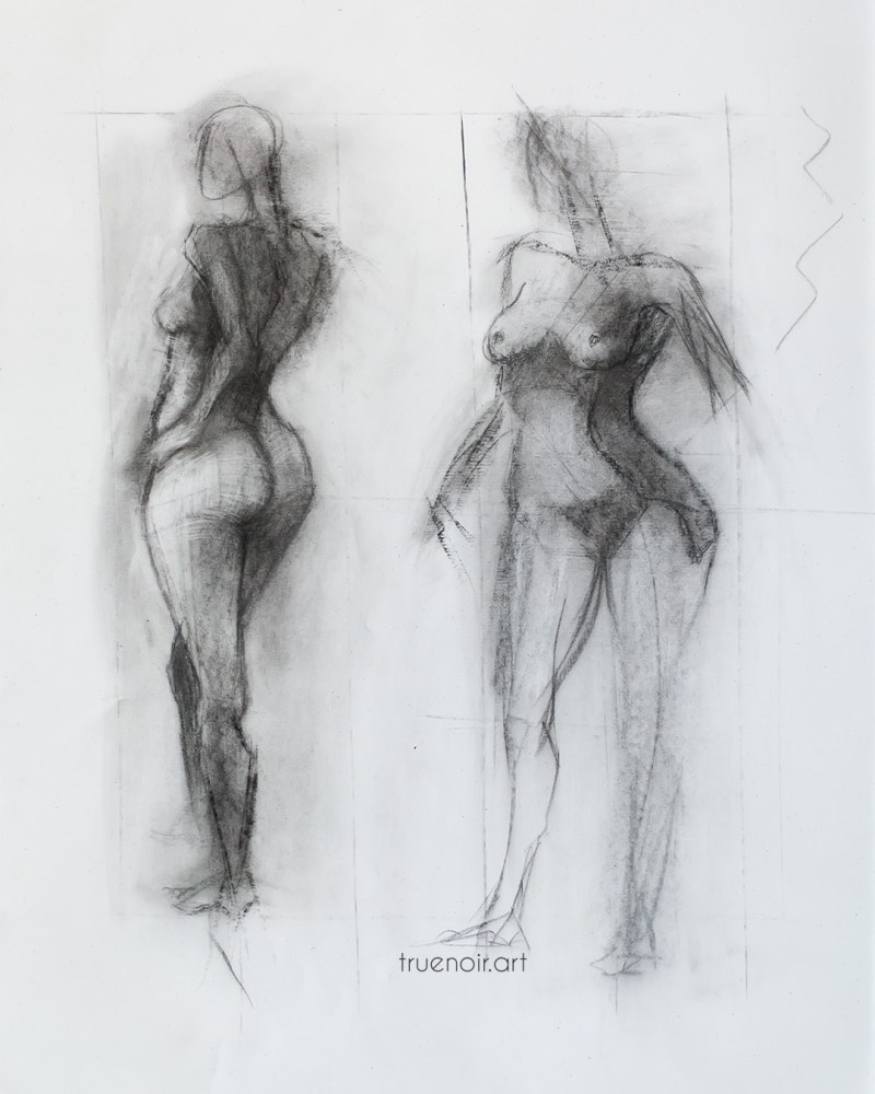 Two-figure sketch, charcoal drawing