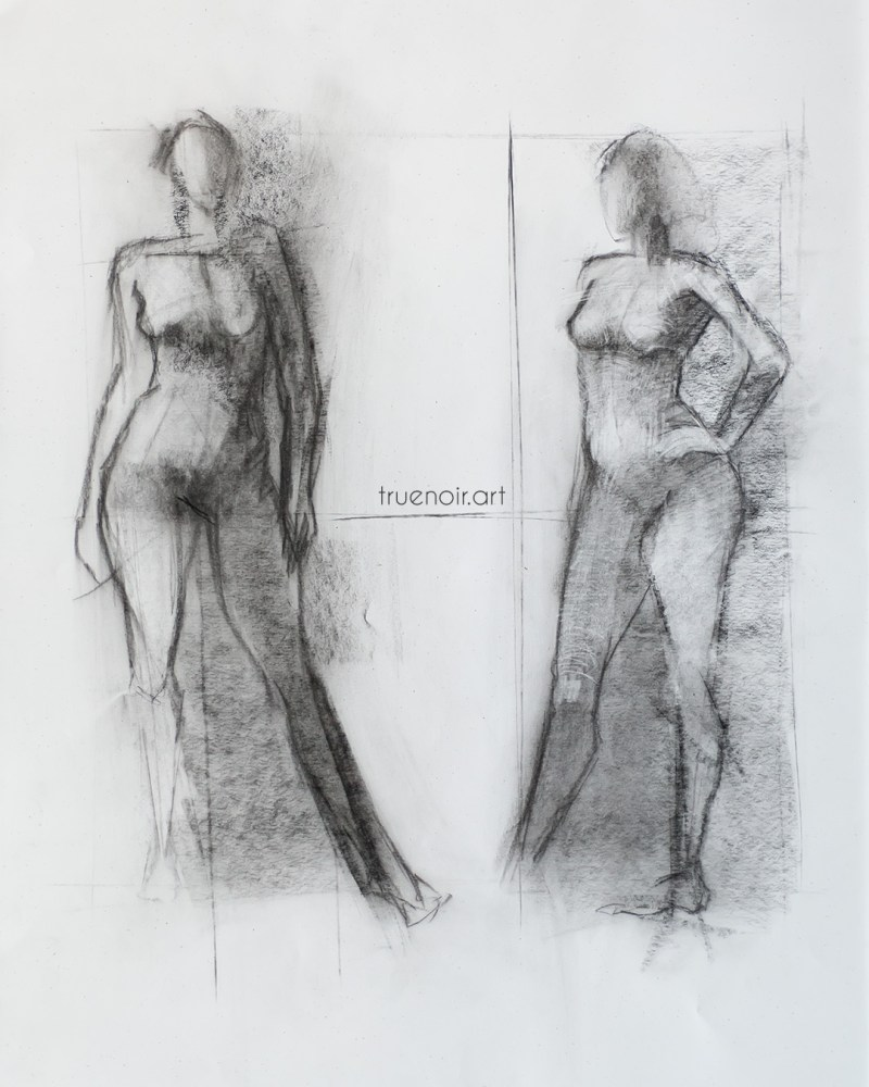 Two 10-min poses, charcoal drawing