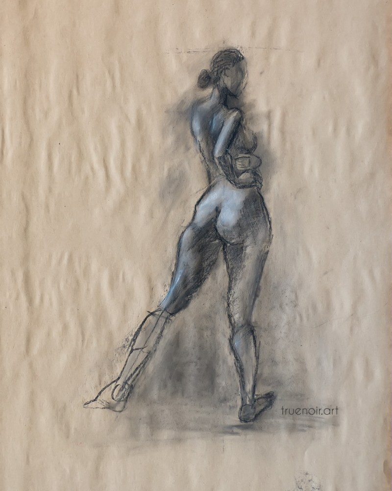 Single figure, charcoal and pastel drawing