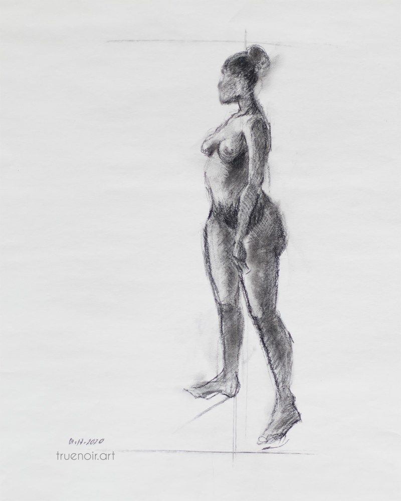 Standing figure, charcoal drawing
