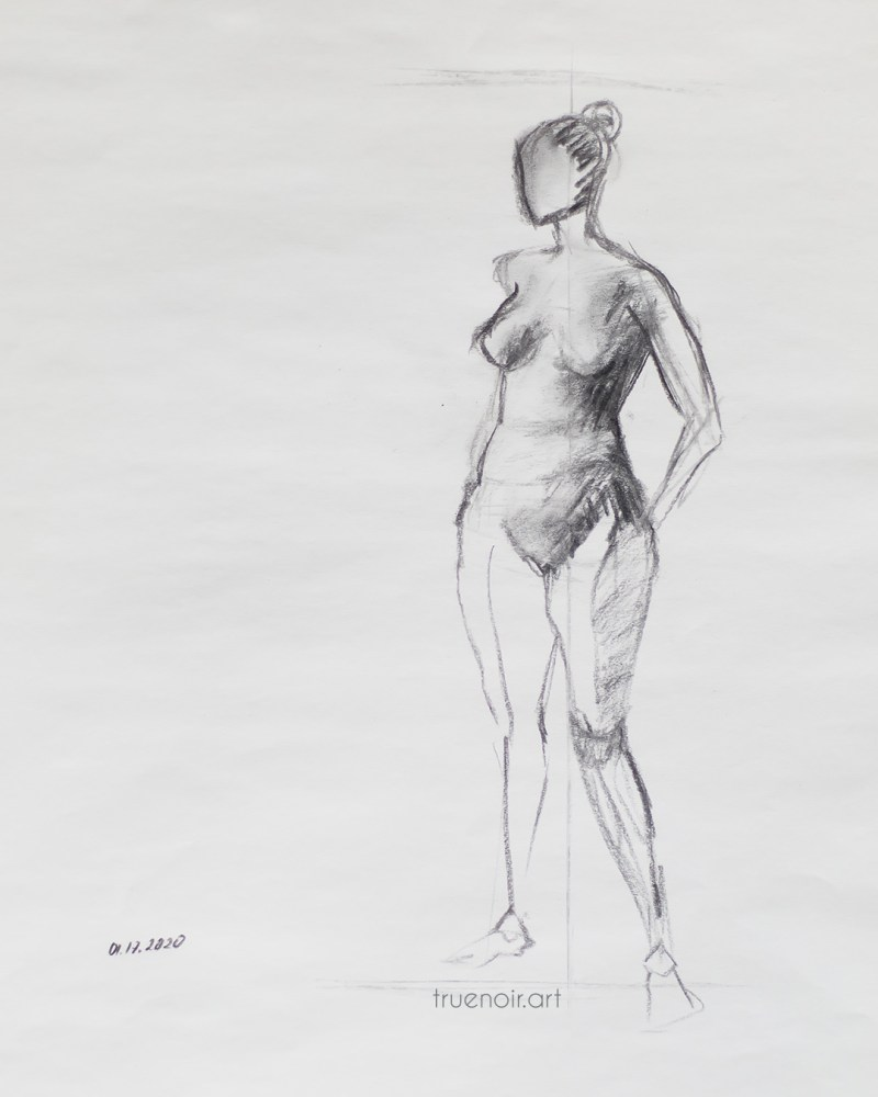 Short pose female figure, charcoal drawing