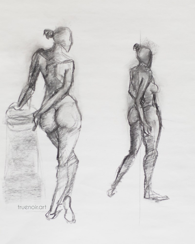 Two Figures from the Back, charcoal drawing