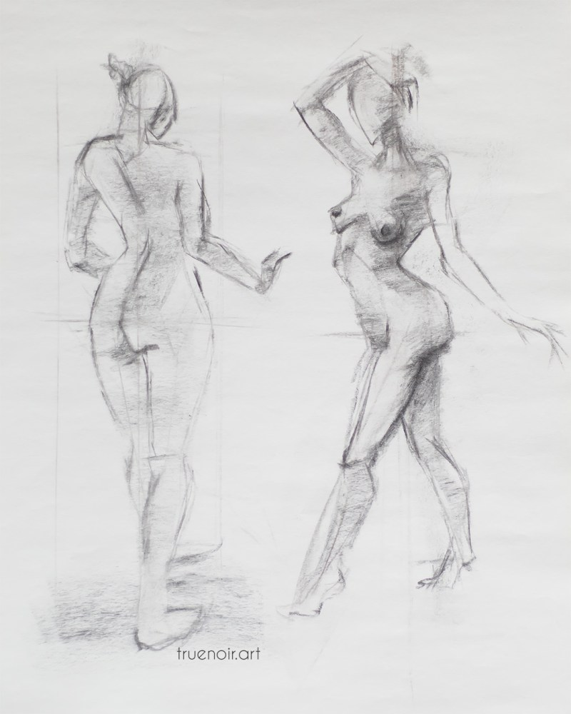 Two standing figures, charcoal drawing