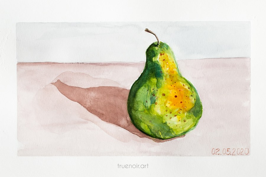 Green pear, watercolor drawing