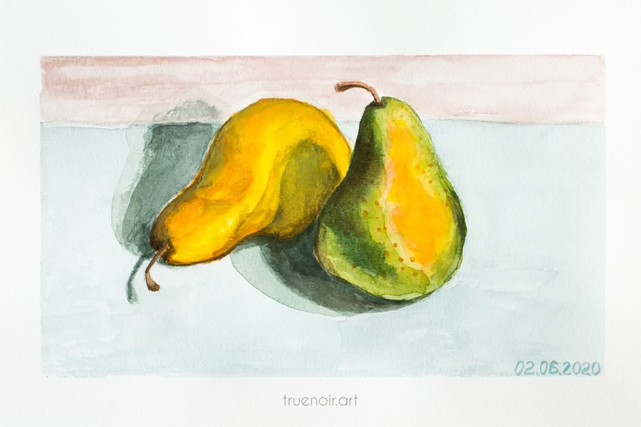 Pair of pears, watercolor painting
