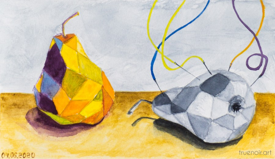 Geometric Life of Pear, original watercolor painting