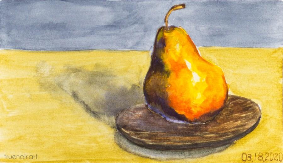 Juicy Pear, watercolor painting by Oksana Ossipov