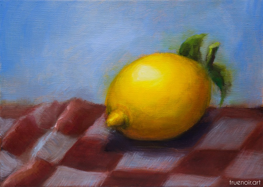 Lemon on the Checkered Tablecloth, oil painting