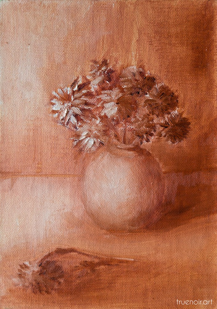 Bouquet of Mums in a Vase, underpainting