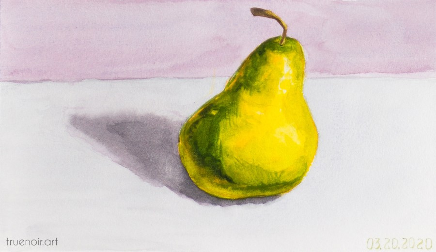 Single Pear, watercolor painting