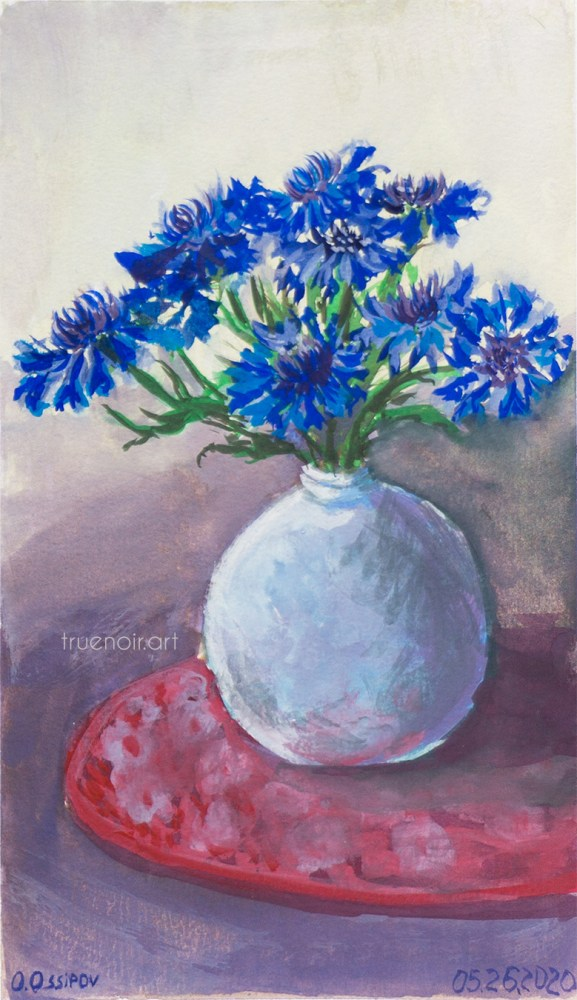 Texan Cornflowers, gouache painting