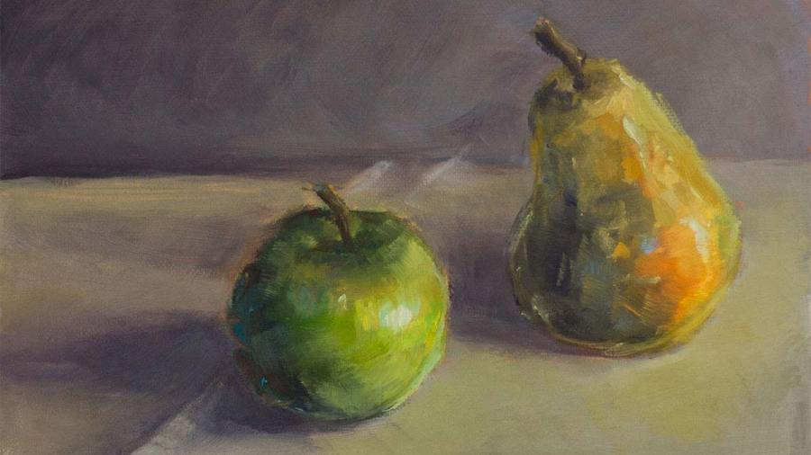 Apple and Pear on the Table, original 5 x 7 oil painting