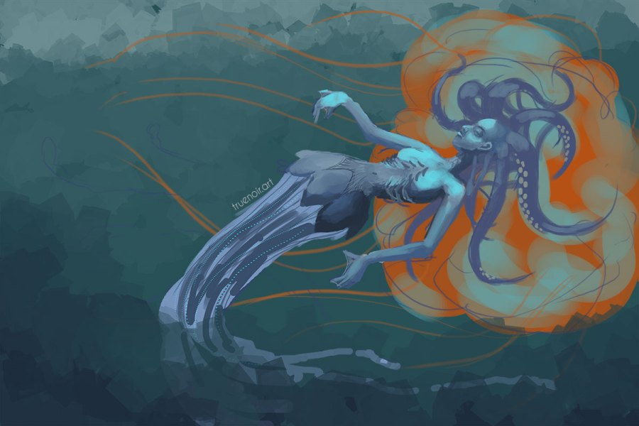 Digital drawing process of squid-girl underwater.