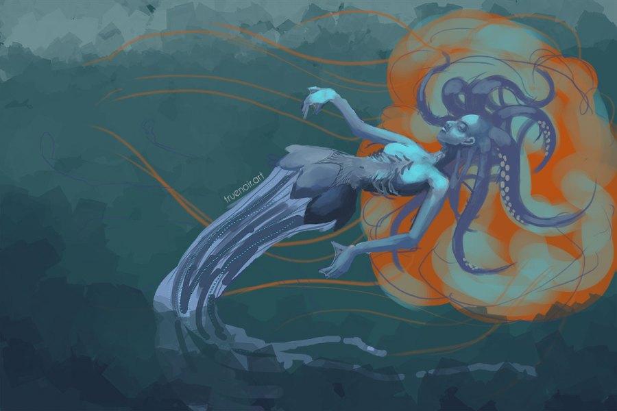 Digital drawing process of squid-girl underwater.